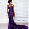 Beautiful Purple Sexy Flowing Gown Made From Bridal Satin