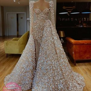 FULLY BEADED CREAM COLORED WEDDING DRESS