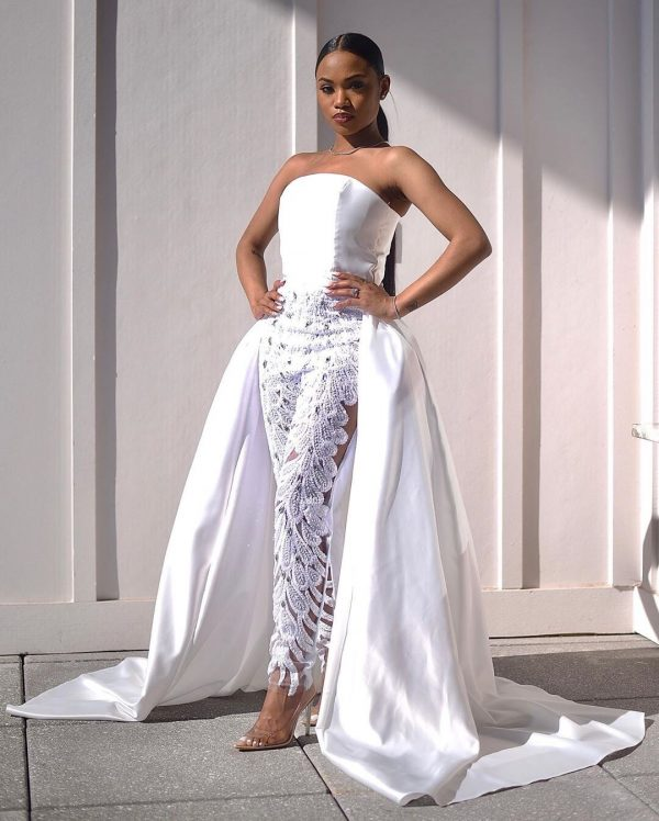 Classy, sophisticated floral-lace Gown For regal woman