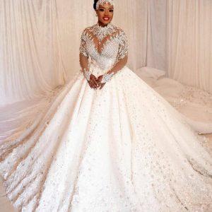 Dazzling Custom long-sleeved Ballgown Wedding Dress
