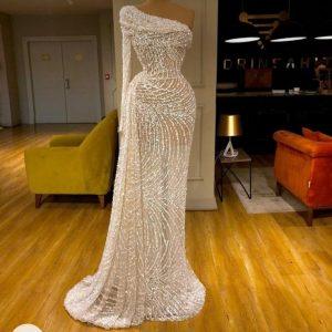 Luxury Custom made One-Shoulder white Beaded mermaid Dress