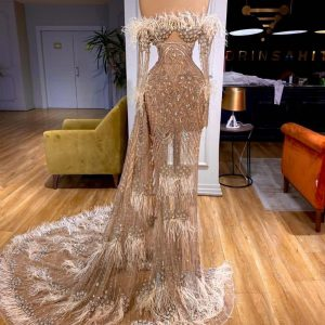 Custom stunning Lace long-sleeved mermaid wedding dress with feathers