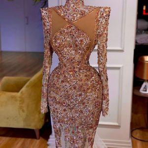 Beautiful & luxury custom Gold beaded lace Mermaid dress