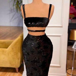 Simple Custom Black velvet sequin dress with stunning look
