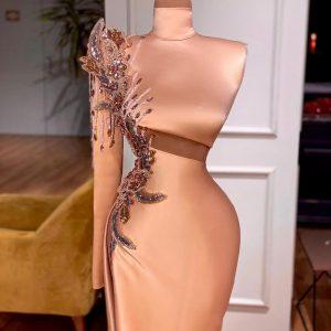 Elegant Custom made Rose Gold Satin with Crystals