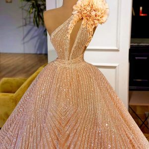 Luxury Custom Made Shimmering Champagne Gold Ballgown