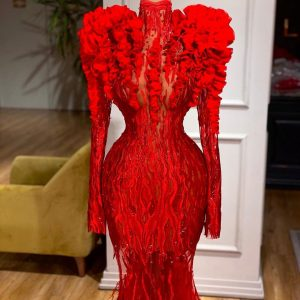 Stunning Red Embroidered lace Mermaid Dress with Ruffles and Feathers