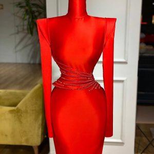 Luxury custom made Red Mermaid Satin Dress