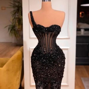 Stunning Custom made Black Corseted dress with crystals