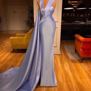 Elegant Custom Made Lilac Satin Mermaid dress
