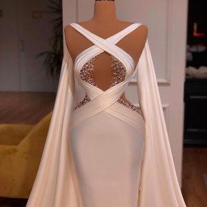 Custom made Elegant Beaded white Wedding Dress