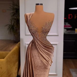 Custom made Champagne Beaded velvet Mermaid Dress