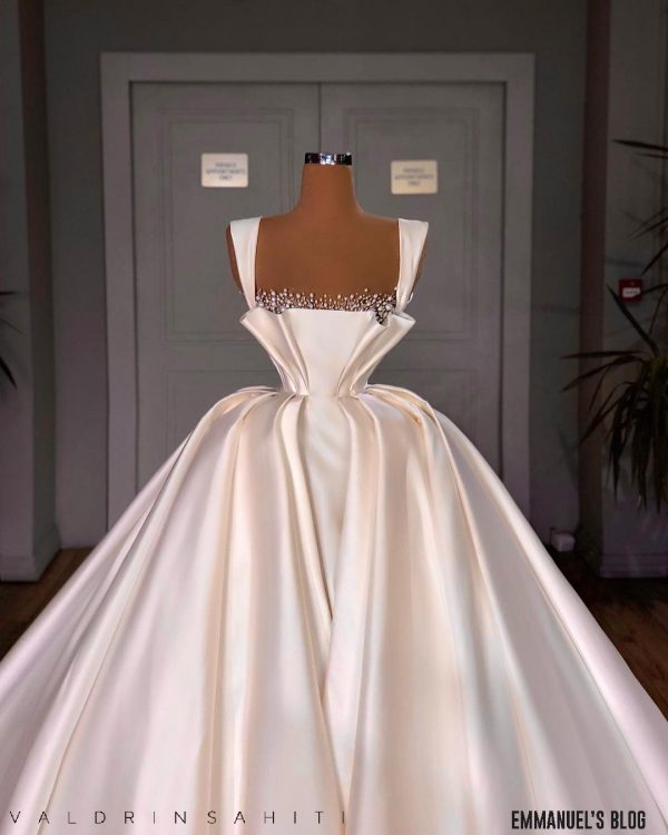 Elegant and Luxury beaded Satin Ballgown wedding dress