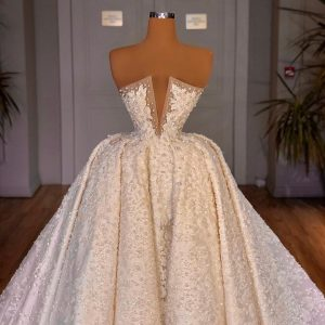 Custom made Embroidered lace ballgown wedding dress