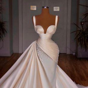 Elegant Custom made Pleated white satin trumpet dress
