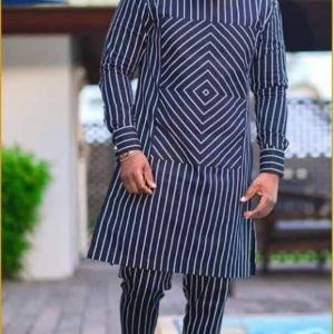 Round Neck Blue Patterned Shirt with Long Sleeves