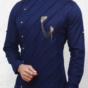 Long sleeved Round Neck Blue Caftan