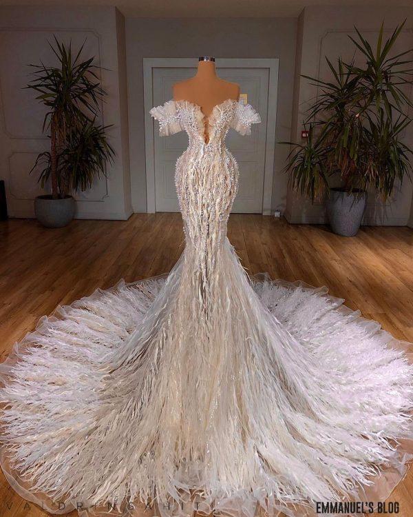 Gorgeous Custom made wedding dress beaded with pearls