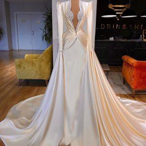 Classy custom made white satin mermaid wedding dress