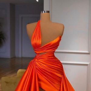 Luxury Custom Made Pleated Orange Satin Dress