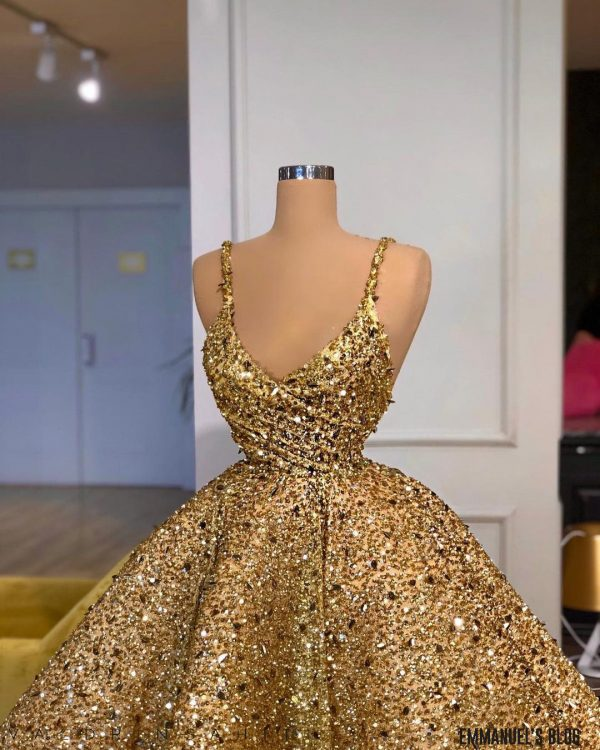 Custom made One- Shoulder Bedazzled Gold Ballgown