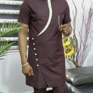 Custom Round Neck Brown Caftan with Short Sleeves