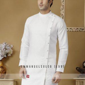 Custom Long sleeve White Caftan with a Raised neck