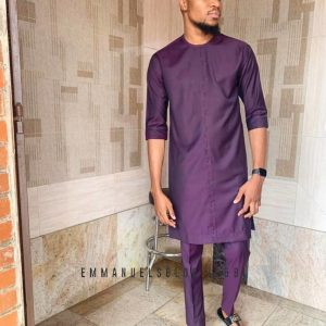 Round Neck Wine long sleeved Traditional Kaftan
