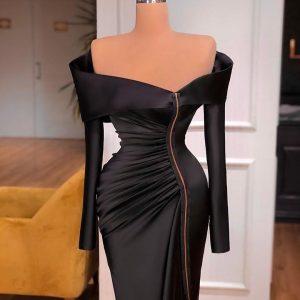 Elegant custom made black Dress with slit