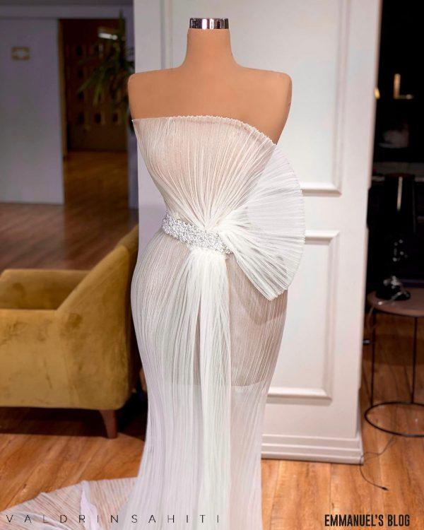 Custom made Sheer White Tulle Wedding Dress