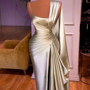 Custom Made Gold metallic pleated dress