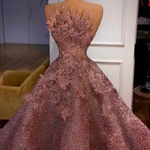 Luxury Bedazzled Purple A-line Wedding Dress