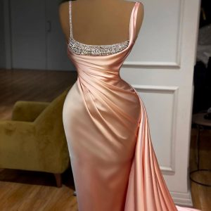 Stunning custom made Pink Silky Bedazzled Dress