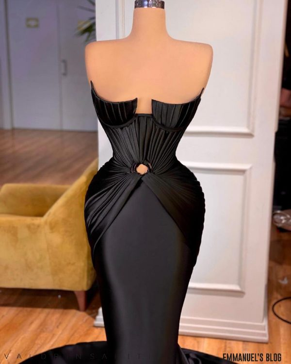 Elegant Custom made Black Velvet and Satin Dress
