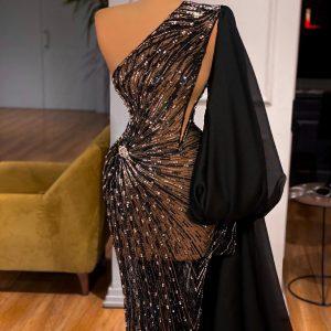 Stunning Luxury Sheer Black bedazzled Dress
