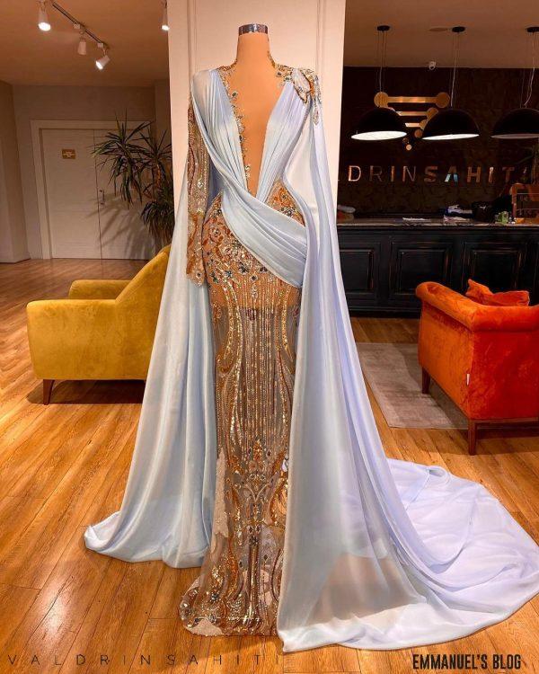 Dazzling custom made Blue Bedazzled Mermaid Dress