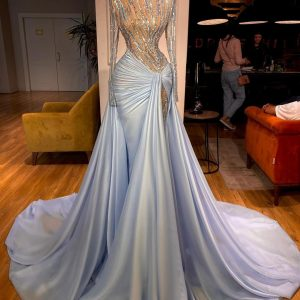 Stunning Custom made Blue Beaded sheer lace with satin