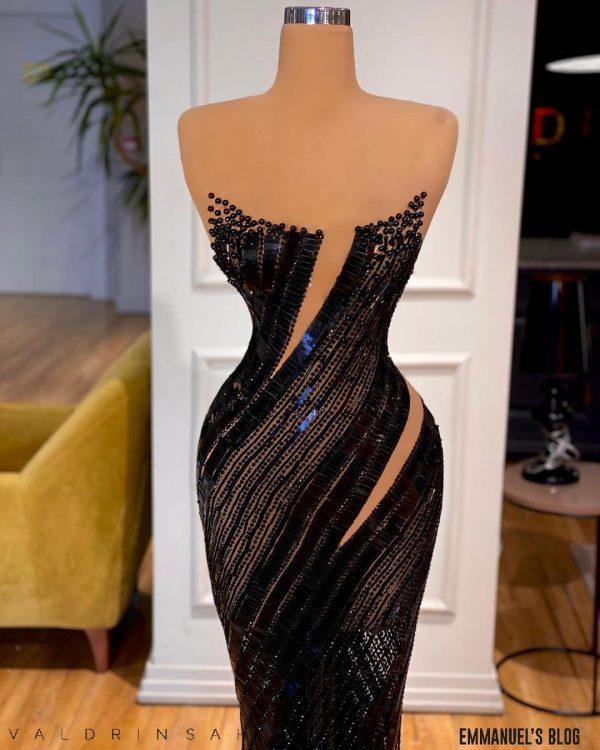Dazzling luxury Beaded Black Mermaid Dress