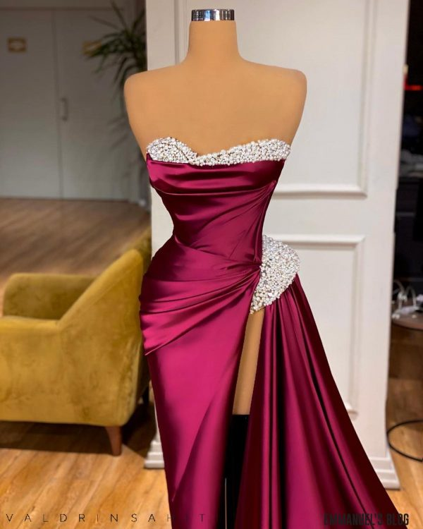 Gorgeous luxury wine corseted dress with thigh high slit