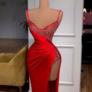 Elegant custom made Red Silk Corseted Beaded Dress