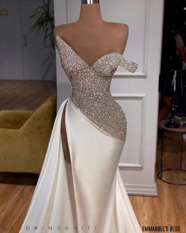 Bedazzled luxury sleeveless off shoulder white satin dress