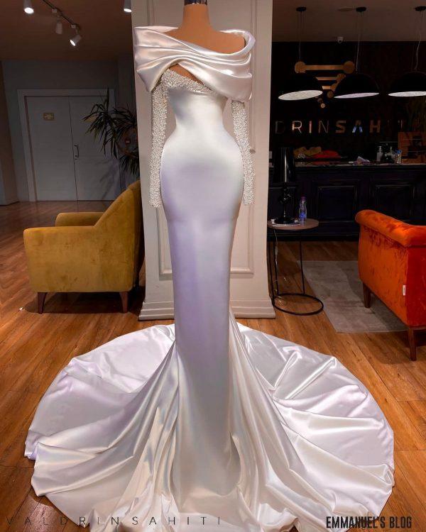 Elegant custom made white off shoulder beaded satin dress