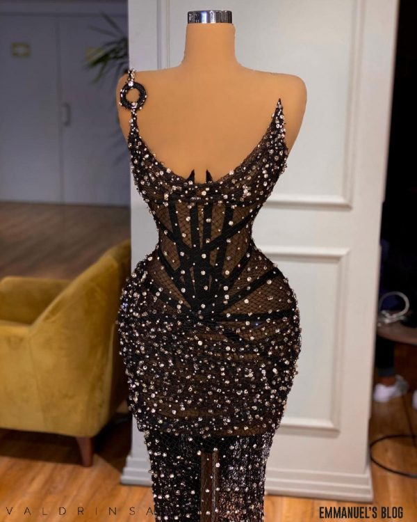 Beautiful Luxury Sheer black beaded lace